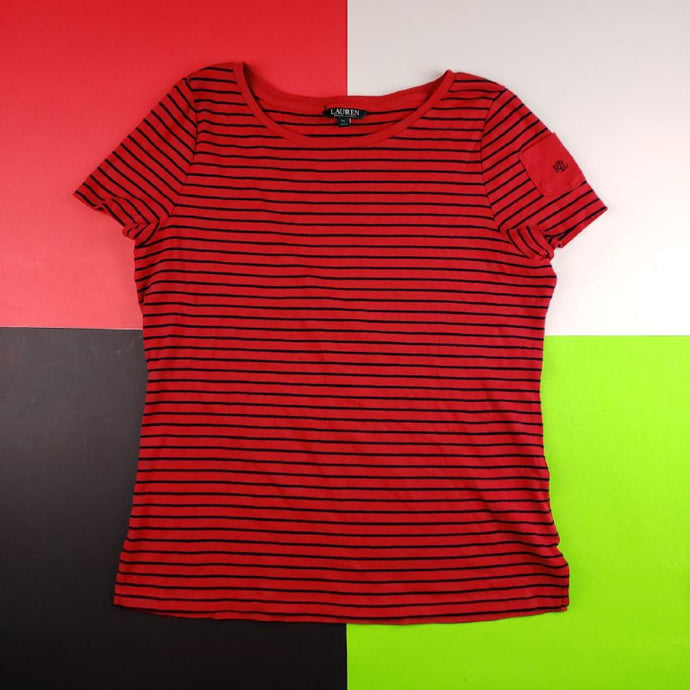 Vintage 90s Lauren Ralph Lauren striped blouse t shirt woMens | XL