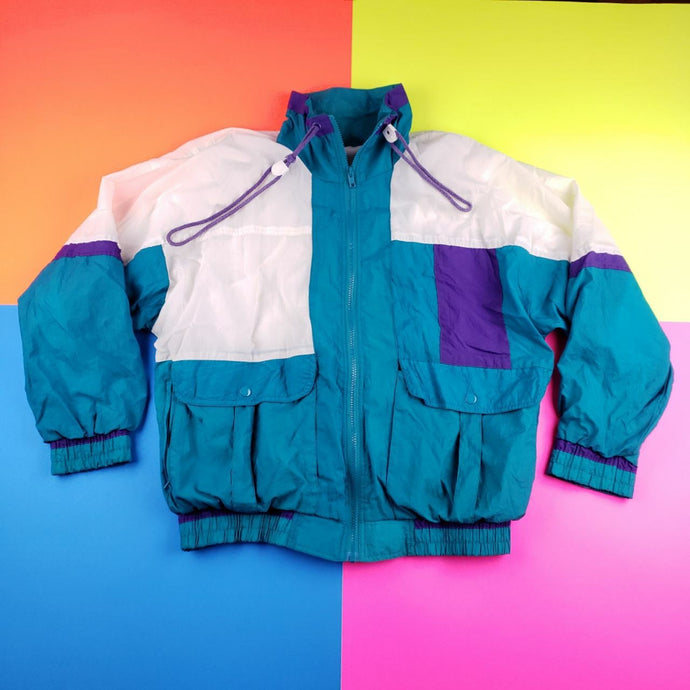 Vintage 90s Aquaberry colorblock windbnreaker Jacket Mens Large