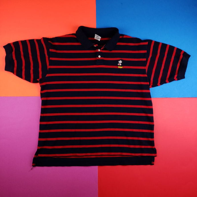 Disney Mickey Mouse striped polo t shirt Mens | XL