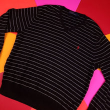 Load image into Gallery viewer, Vintage y2k Polo Ralph Lauren striped black sweater mens L