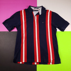 y2k Tommy Hilfiger pinstripe flag polo shirt Mens M