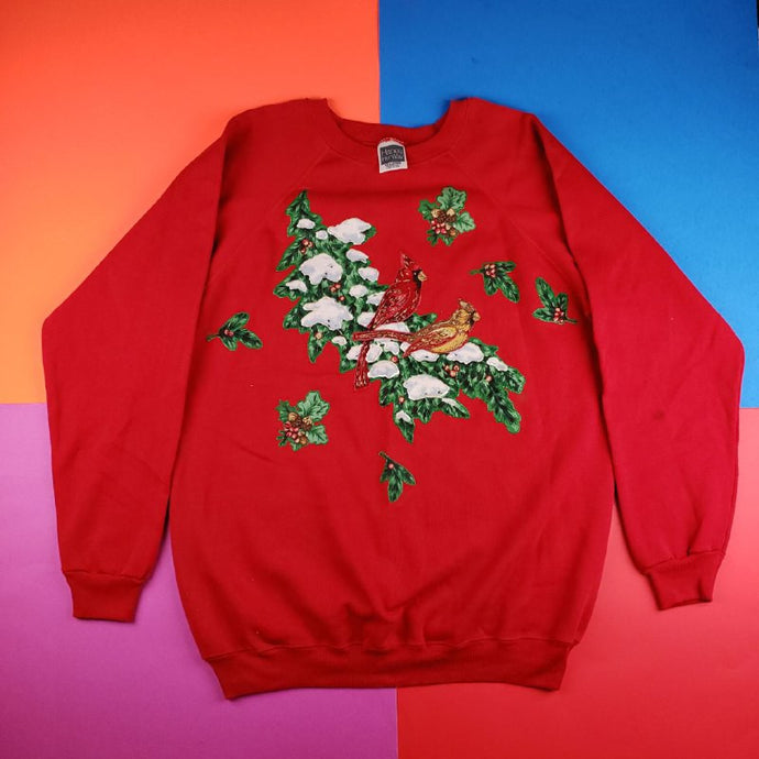 Vintage 90s Puff Print Cardianls Winter floral sweater Mens | XL