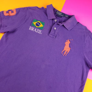 Vintage 90s Polo Ralph Lauren '3' Rugby Polo  shirt Womens L