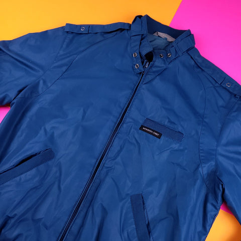 Vintage 80s Members Only Teal Rainbow tag windbreaker jacket Size 7/8