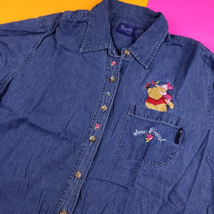 Vintage Disney Pooh button up shirt Womens XL