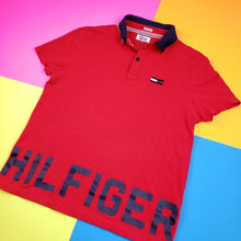 Load image into Gallery viewer, Tommy Hilfiger Denim new HILFIGER Spellout polo t shirt Mens Medium