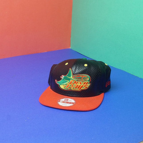 Tampa Bay Devil Rays leather snapback red black classic spellout logo adult adjustable snapback