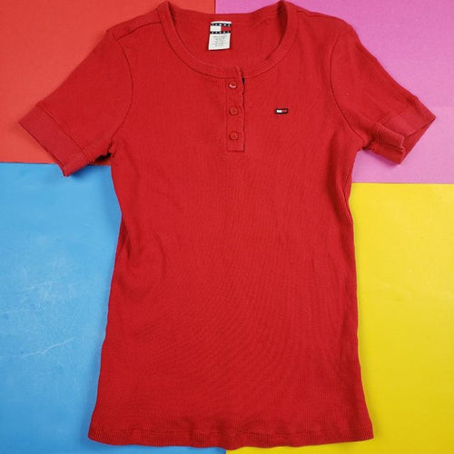 Vintage Tommy Jeans Red Top Womens L