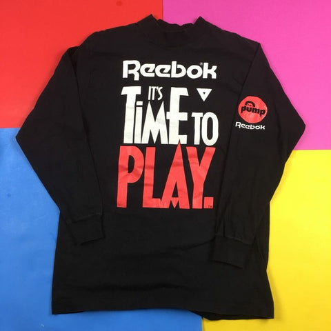 "Vintage 90s Reebok Sport ""ITS TIME TO PLAY"" InstaPump sneaker long sleeve Mens 