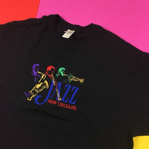 Vintage 90s JAZZ multicolored embroidered t shirt Mens | XL