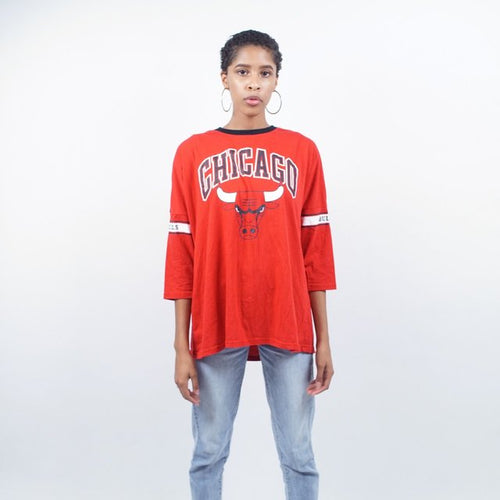 Red Chicago Bulls 3/4 sleeve
