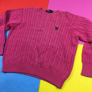 VIntage 90s Polo Ralph Lauren pink embroidered golf Cable Knit sweater Mens | Size L