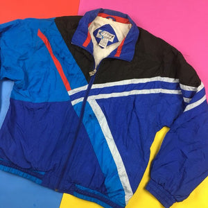 Vintage 90s Crazy Colorblock windbreaker jacket Mens | L