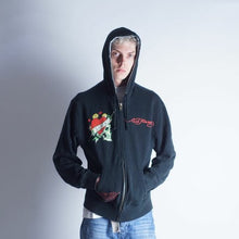Load image into Gallery viewer, VIntage y2k Ed Hardy Audiger full spellout double sided zip up hoodie mens M-L