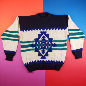 Vintage 90s Peter England Colorblock Abstract sweater Mens | L