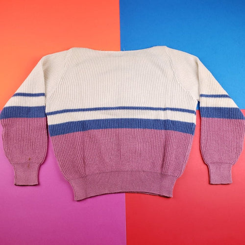 Vintage 90s British Vogue striped colorblock sweater Womens L