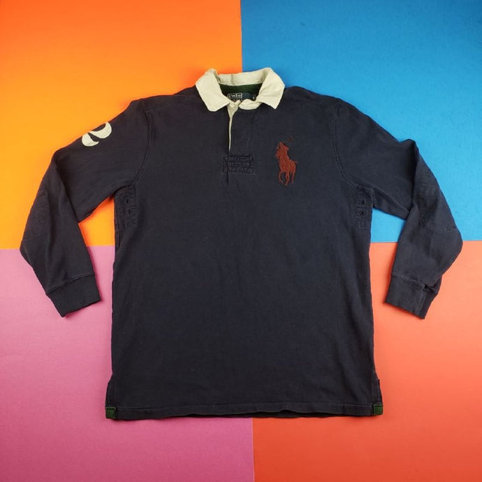 Vintage 90s Polo Ralph Lauren '2' Rugby Polo sweater Mens | Small