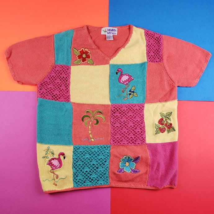Vintage 90s Paradise Bay Flamingo colorblock knit sweater Womens L