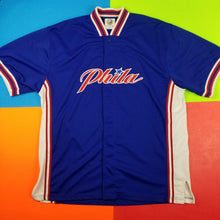 "Load image into Gallery viewer, y2k ""Phila"" Basketball warm up style jersey"