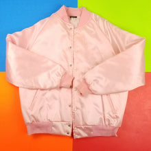 Load image into Gallery viewer, Vintage 80s Pink Satin Varsity bomber jacket Mens 2XL