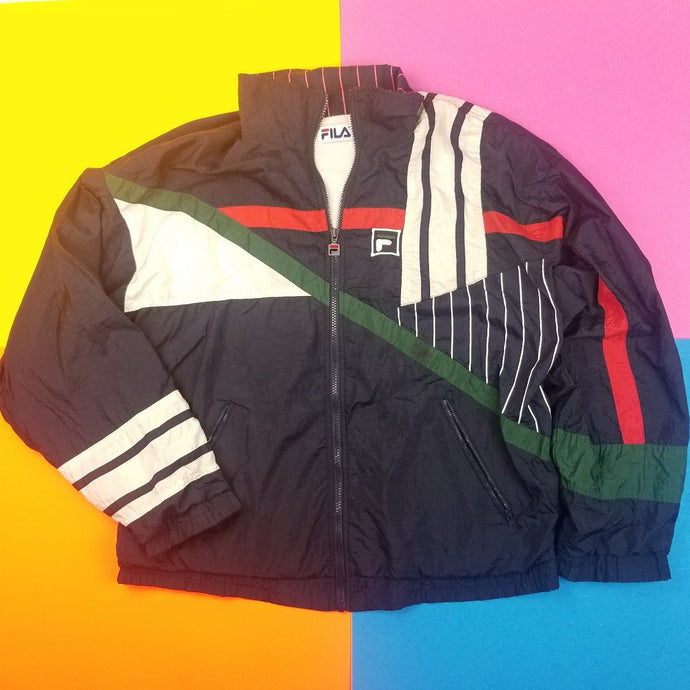 Vintage 90s FILA Crazy colorblock abstract windbreaker jacket Mens | L