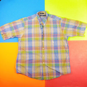 Vintage 90s Nautica mutlicolored plaid Button Up Short Sleeve shirt Mens | L
