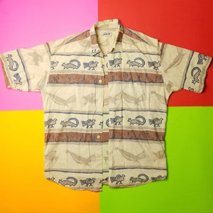 Vintage Style Hieroglyphic button up t shirt Mens | L