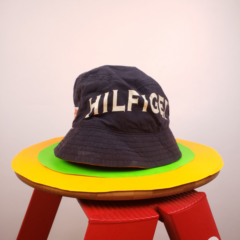 Vintage 90s Tommy Hilfiger Navy and Orange Bucket Hat OS
