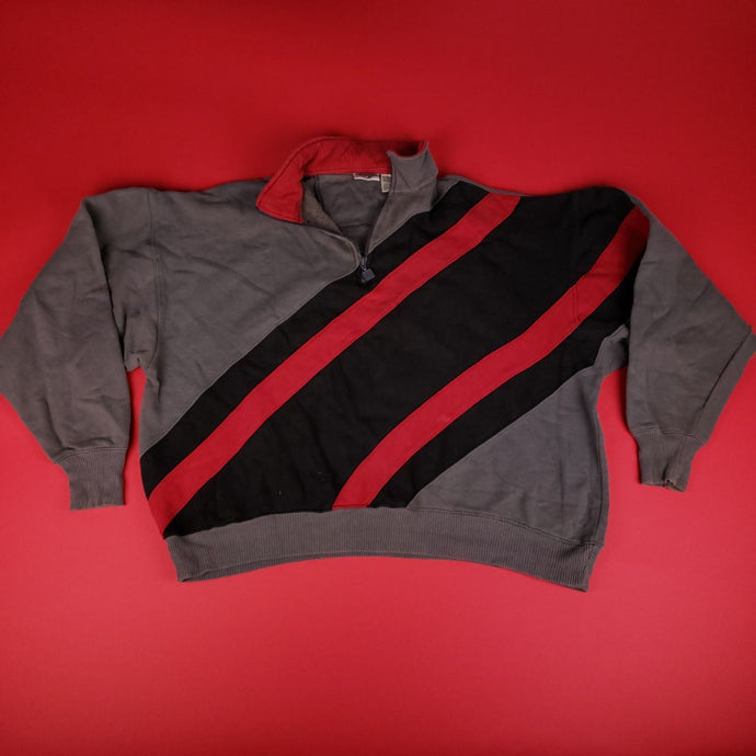 Vintage Abstract Grey Red Jacket Mens sz XL