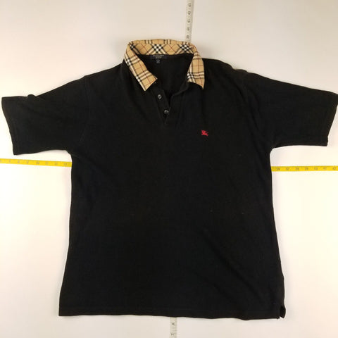 Burberry London Nova Check Collared Black Polo Mens sz L