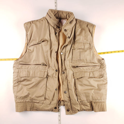 Vintage 90s Tan Hooded Vest Mens sz L