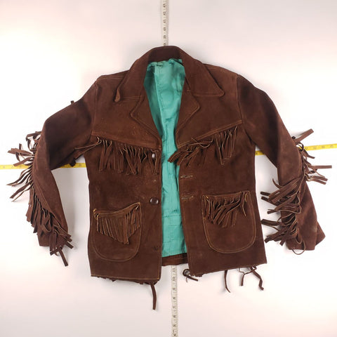 Vintage 90s Dark Brown Leather Western Tassled Shirt Mens sz S
