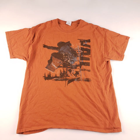 Vintage Y2K Vail Colorado Orange Snowboarding Graphic T-Shirt Mens sz L
