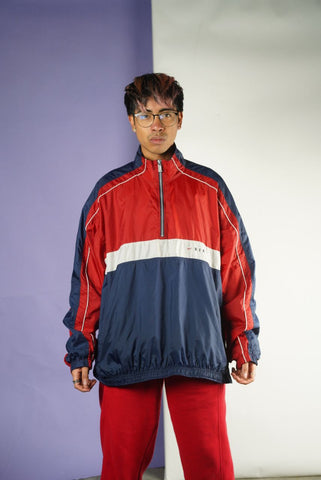 Vintage 90s Nike Navy Red 1/4 Jacket Mens sz XL