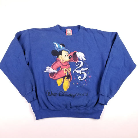 Vintage 90s Made in USA Walt Disney World 25th Anniversary Mickey Mouse Fantasia Blue Sweater Mens sz M
