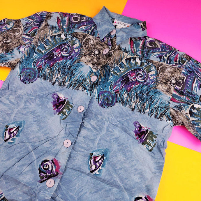 Vintage Abstract Pastel Button Up Mens Small