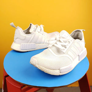 ADIDAS NMD R1 All White Sneakers Mens 9.5