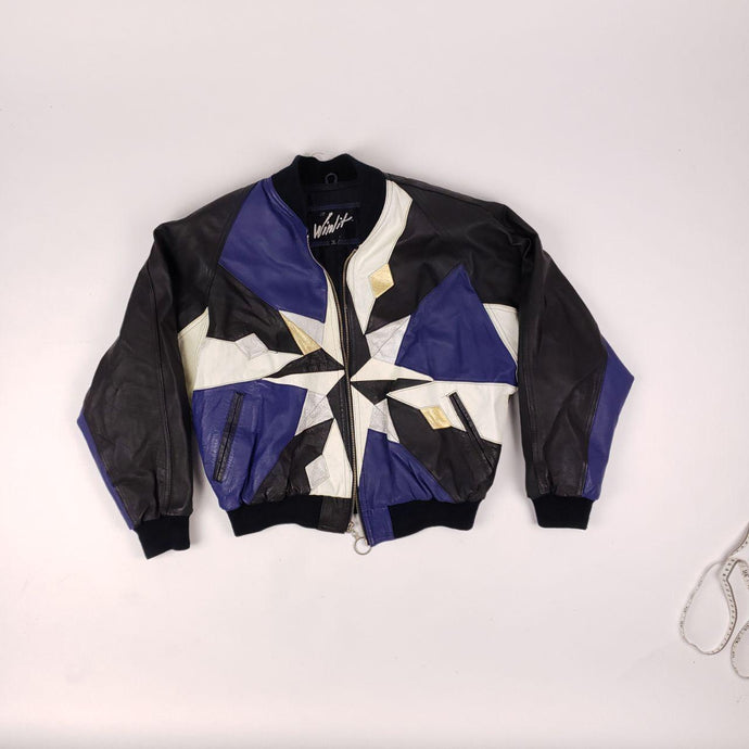 Insane Vintage Winlit Geometric Pattern Leather Jacket