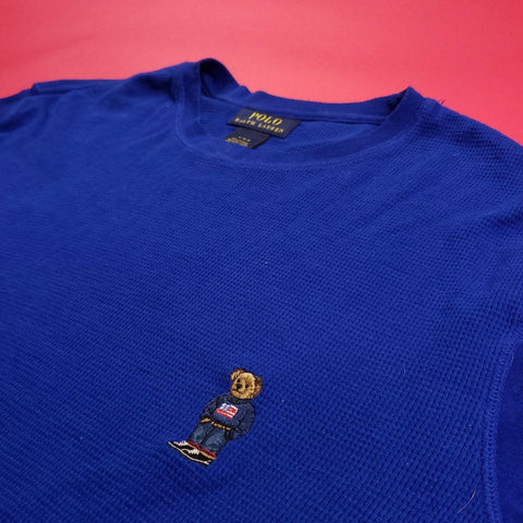 Blue Waffle Knit Polo Bear Thermal L/s Mens sz L