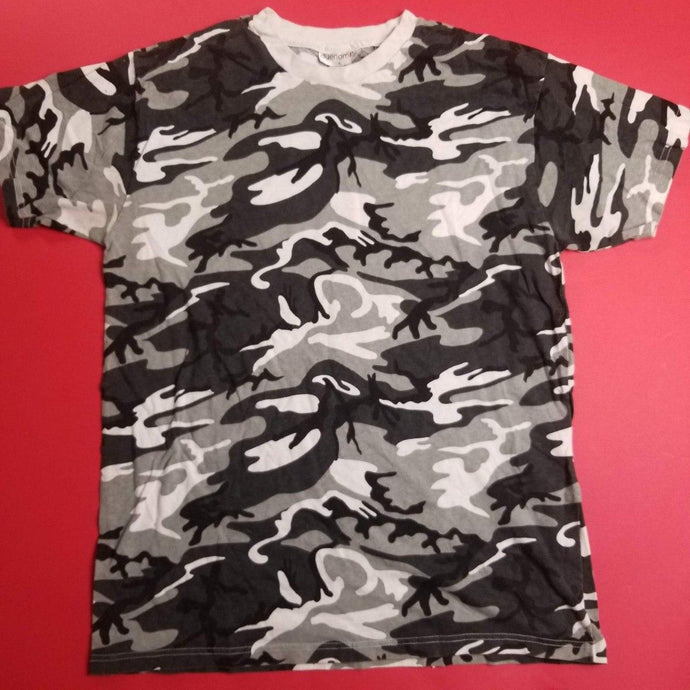 Vintage Made In USA Arctic Camo Tee Shirt Mens sz L,