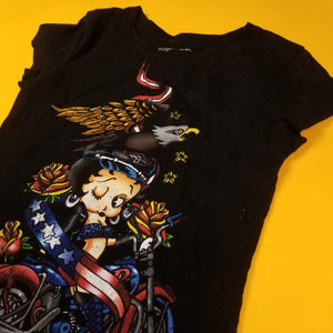Vintage 07' Betty Boop Looney Tunes Biker t shirt Womens Small