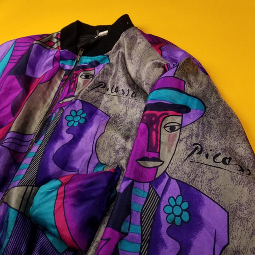 Vintage 90s Picasso Silk Jacket Mens Large