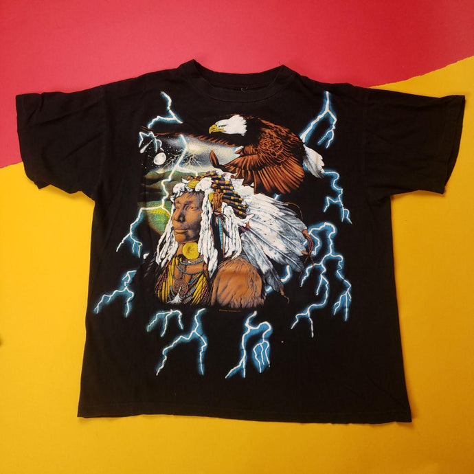 Vintage American Thunder Native American Graphic Tee Mens sz M