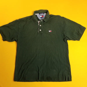 Vintage Y2K Tommy Jeans Green Polo Shirt Mens sz L