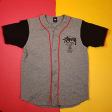 Load image into Gallery viewer, Vintage Y2K Gray Stussy Baseball Jersey Mens sz L