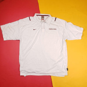 Nike Team White Florida State Golf Polo Shirt Mens sz XL