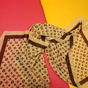 LV Louis Vuitton Babushka Silk Scarf Shawl Head Wrap OS