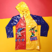 Load image into Gallery viewer, Vintage 90s Batman and Robin MultiColored Vinyl Rain Jacket Mens sz L