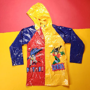 Vintage 90s Batman and Robin MultiColored Vinyl Rain Jacket Mens sz L