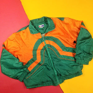 Vintage Green and Orange Colorblocked Jacket Mens sz S